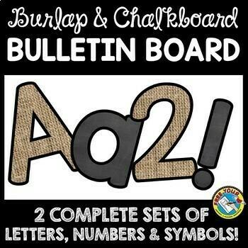 BURLAP AND CHALKBOARD CLASSROOM DECOR BULLETIN BOARD LETTERS PRINTABLE BUNDLE