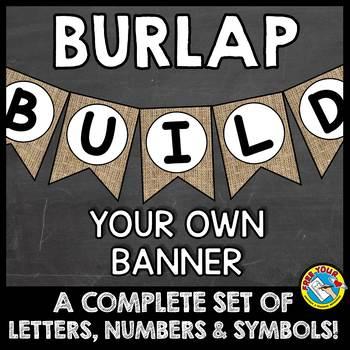 BURLAP BULLETIN BOARD LETTERS, NUMBERS, SYMBOLS (BURLAP CLASSROOM DECOR BANNERS)
