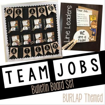 BURLAP Classroom Team Jobs Bulletin Board: Editable Tasks and Bunting