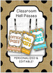 BURLAP with COLOR Hall Passes Lanyards {EDITABLE}