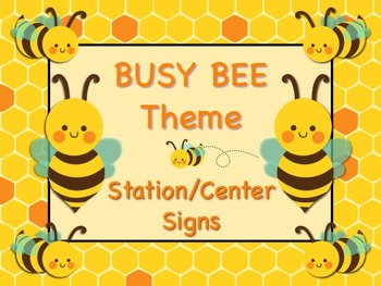 BUSY BEE Themed Station/Center Signs Great Classroom Management!