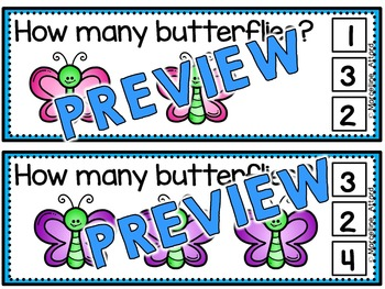 SPRING MATH CENTER: BUTTERFLIES COUNTING CLIP CARDS:PRE K+ KINDERGARTEN COUNTING