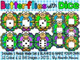 BUTTERFLIES WITH DICE- BUTTERFLY CLIP ART