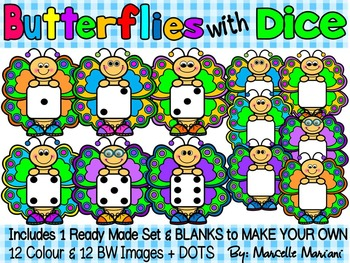 BUTTERFLIES WITH DICE- BUTTERFLY CLIP ART