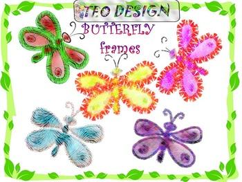 Butterflies - Summer - Frames - Clip Art - Personal or Com