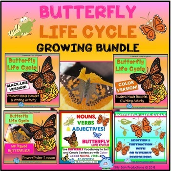 BUTTERFLY Life Cycle GROWING BUNDLE Literacy  Math & Science Activities