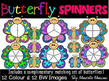 BUTTERFLY SPINNERS-BUTTERFLY CLIP ART- Personal & commerci