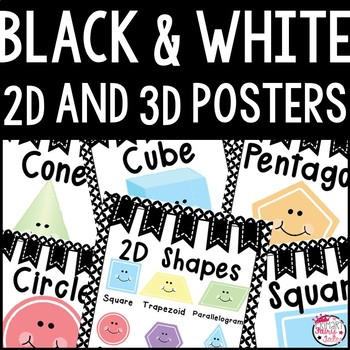 B&W 2D and 3D Shape Posters