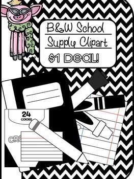 B&W Back to School Supply Clipart 300 .dpi