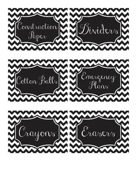 B&W Chevron Classroom Labels (Resizable)