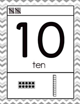 Black and White Number Posters 1-10 Freebie