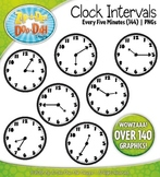 Clock Face Intervals Clip Art — Every 5 Minutes / Over 140 Graphics!