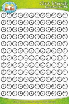 Clock Face Every 5 Minutes Intervals Clipart {Zip-A-Dee-Doo-Dah Designs}