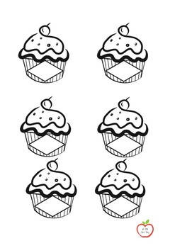 BW Coloured Cupcake clipart
