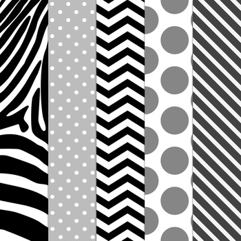 B&W Design Kit ~ Digital Papers, Frames & Buntings