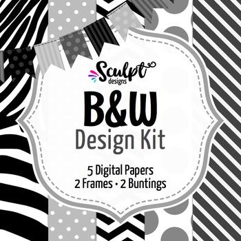 B&W Design Kit ~ Digital Papers, Frames & Buntings