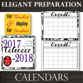 BW Floral & Low-Frills-- TWO Calendars -- 2017-2018 dates -- No Clip Art
