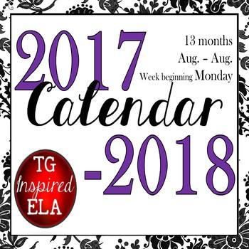 Calendar --Black Floral & Low-Frills versions -- 2017-2018 dates -- No Clip Art