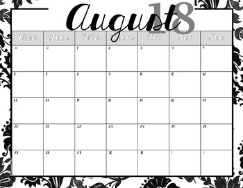 Calendar --Black Floral & Low-Frills versions -- 2017-2018 dates -- No Clip Art