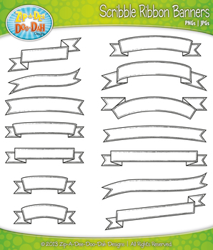 BW Outlined Scribble Ribbon Banners Clip Art Set