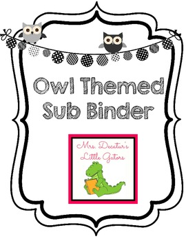 B&W Owl Themed Editable Substitute Binder