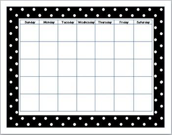 B&W Polka Dot Calendar Set