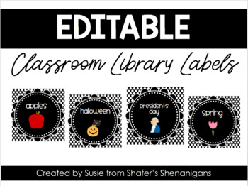 B/W Polka Dot Classroom Library Labels (EDITABLE!)