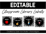 B/W Polka Dot Classroom Library Labels (EDITABLE!)