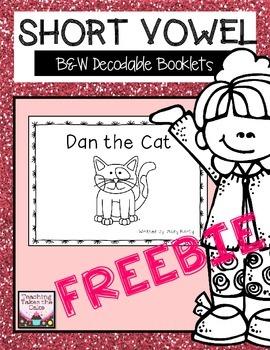 B&W Short Vowel A Decodable Booklet Freebie