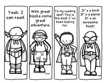 B&W Superhero Reading Bookmarks