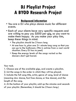 BYOD, Computer Lab, Internet Research, DJ Playlist Project
