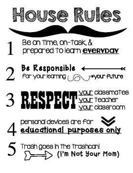 "BYOD Secondary ""House"" Rules Classroom Poster"