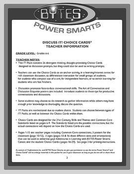 BYTES Power Smarts®: DISCUSS IT! CHOICE CARDS® - SET 1