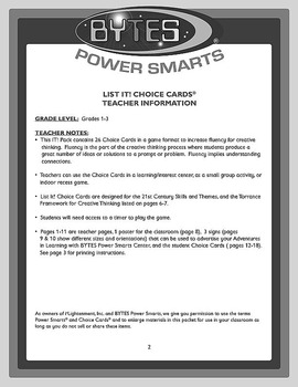 BYTES Power Smarts®:  LIST IT! CHOICE CARDS® GRADES 1-3 - SET 1 - VOCABULARY