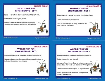 BYTES Power Smarts®:  WORDS FOR FUN ! CHOICE CARDS® - ENGINEERING - SET 1
