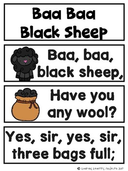 Baa Baa Black Sheep Bundle (Emergent Reader, Lap Book, Voc. / Picture Cards)