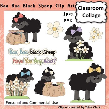 Baa Baa Black Sheep Clip Art - Color - pers & comm use Nursery Rhyme T Clark