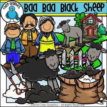 Baa Baa Black Sheep Clip Art Set - Chirp Graphics