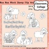 Baa Baa Black Sheep Clip Art - line drawing - pers & comm Nursery Rhyme T Clark