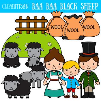 baa baa black sheep clip art nursery rhyme by clipartisan tpt rh teacherspayteachers com black and white sheep clipart free free black sheep clipart