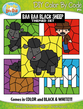 Baa Baa Black Sheep Color By Code Clipart {Zip-A-Dee-Doo-Dah Designs}