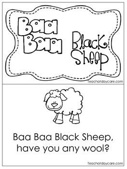 Baa Baa Black Sheep Early Emergent Reader. Pre-k, KDG., 1st Grade  Reading.
