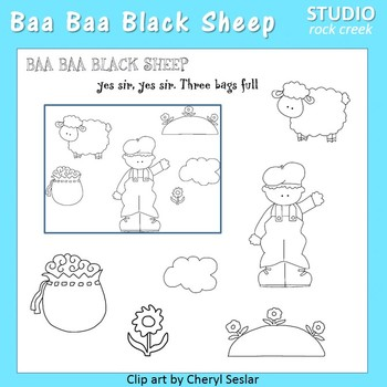 Baa Baa Black Sheep Line Drawings Clip Art  C. Seslar