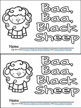 Baa, Baa, Black Sheep Book, Poster, & MORE- Pre-K & Kindergarten Nursery Rhymes