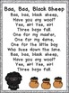 Baa, Baa, Black Sheep Book, Poster, & MORE- Pre-K & Kinder