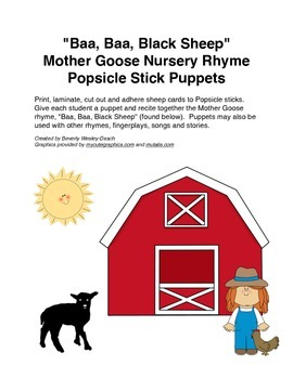"""Baa, Baa, Black Sheep"" Mother Goose Rhyme Popsicle Stick Puppets"