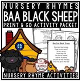 Baa Baa Black Sheep Nursery Rhyme Printable Activities