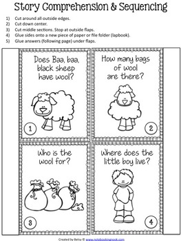 Baa Baa Black Sheep Nursery Rhyme Activity Packet