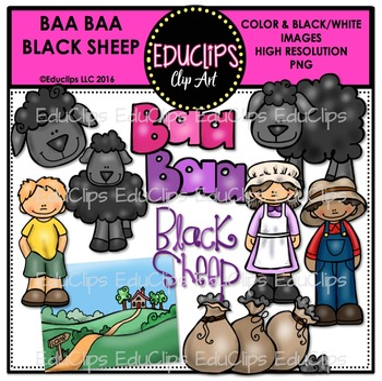 Baa Baa Black Sheep Nursery Rhyme Clip Art Bundle {Educlips Clipart}