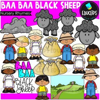 Baa Baa Black Sheep Nursery Rhyme Clip Art Bundle {Educlip
